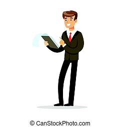 Smiling businessman standing and holding notepad vector...