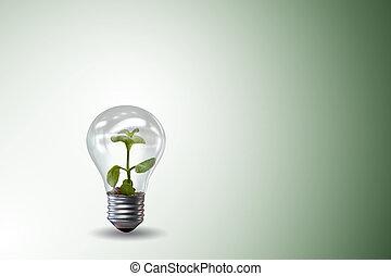 概念, ライト,  -, 環境, レンダリング, 緑, 電球, 3D