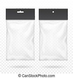 Black blank plastic pocket bag Transparent set with hang slot.