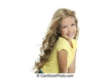 little blond girl smiling portrait yellow tshirt isolated on...