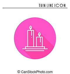 Candle line outline icon. Two burning candles with a bright...