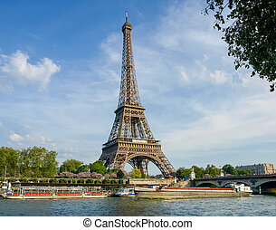 Eiffel Tower with river on the foreground in Paris