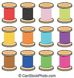 color reels of thread on white
