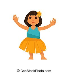 Girl from Hawaii in straw skirt and blue shirt