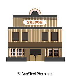 Vintage saloon building - Vector illustration of old brown...