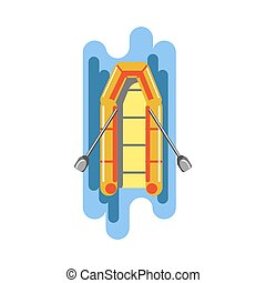 Inflatable boat on river - Vector illustration of inflatable...