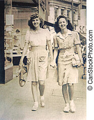 Vintage Photo Women Shopping - Two young women walking...