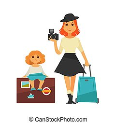 Mother and daughter go for traveling isolated illustration -...
