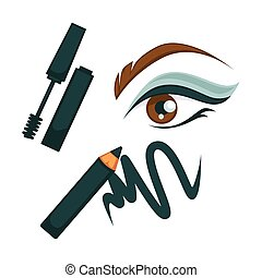 Eye make up poster with all cosmetic tools