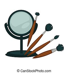 Compact mirror and fluffy brushes for make up set - Compact...