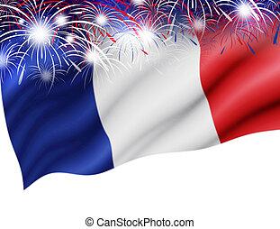 France flag with firework on white background for bastille...