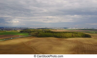 Aerial view of the beautiful landscape in summer day. Drone...