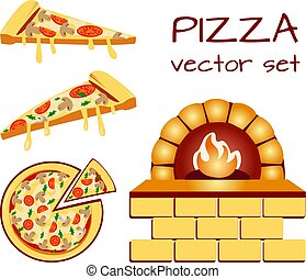 Set of pizza menu icons. Food icons. VECTOR illustration isolated on white baclground.