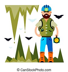 Vector Spelunker. Flat style colorful Cartoon illustration....