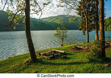 Beauty landscape shore pine trees to mountain lake - Beauty...