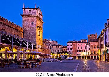 Mantova city Piazza delle Erbe evening view panorama -...