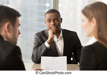 Nervous worried unhired african-american job applicant...