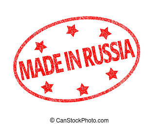 Made in Russia stamp - Red grunge rubber stamp with the text...