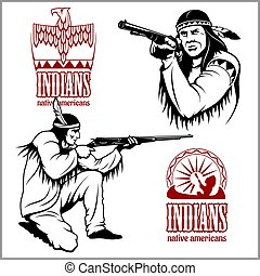 American indians set of vintage emblems, labels and logos in...