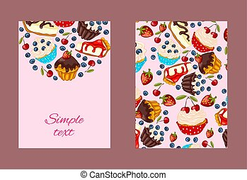 Cartoon style flyer template with muffins and cheesecake. -...