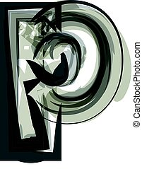 Abstract Letter p Illustration