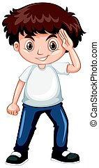 Little boy wearing blue jeans illustration