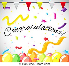 Congratulation card template with colorful balloons...