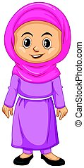Muslim girl in pink costume