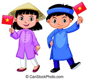 Vietnamese boy and girl in traditional costume illustration
