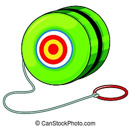 Green yoyo with red ring illustration