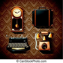 Household objects in vintage styles illustration