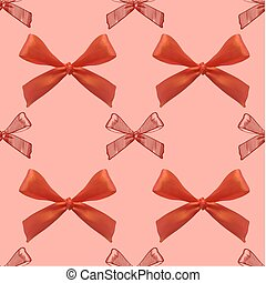 Seamless pattern with realistic and sketched bows on red background. Red bows.
