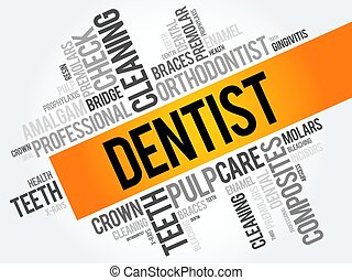 Dentist word cloud collage, health concept background