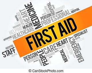 First aid word cloud collage, healthcare concept background