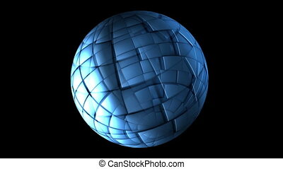 Blue Polygonal Sphere Spinning
