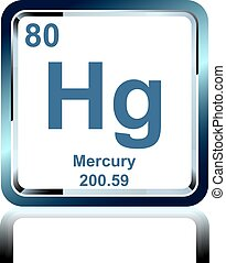 Chemical element mercury from the Periodic Table - Symbol of...