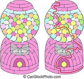 Easy gumball machine maze