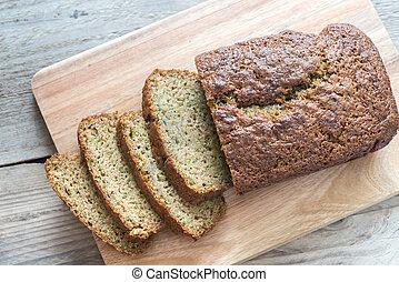 Zucchini bread on the wooden board