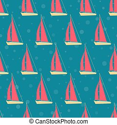 Boats, yachts on the sea on a cruise. Seamless pattern....