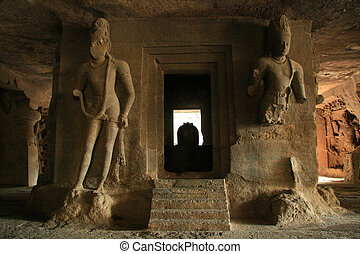 God Carving in Rock - Elephanta Island, Mumbai, India -...