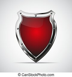 Metal red shield with shadow on a gray background. Vector...