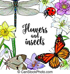 Square frame of insects and flowers with place for text