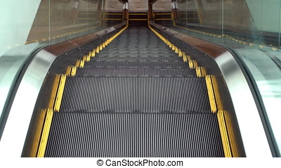 Moving escalator up and down, mecanic, electic, Stair and escalators in a public area