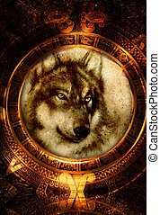 Ancient Mayan Calendar and wolf head, abstract color...