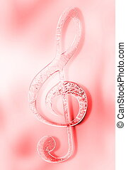 Music clef on abstract background. Music concept. Glass and...