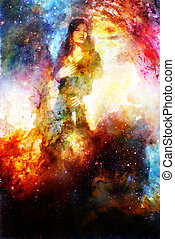 Goddess Woman holding cosmical light sword. Cosmic background.
