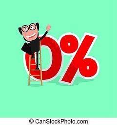 Businessman Reach A Zero Percent Interest Symbol Vector Illustration