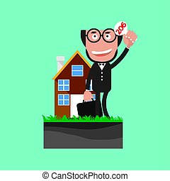 Businessman Show Bidding Offer Of The Property Vector...