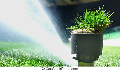 Soccer or football field irrigation system of automatic...
