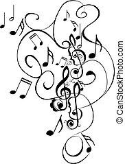 Music Notes Floral Ornament - Abstract musical background...